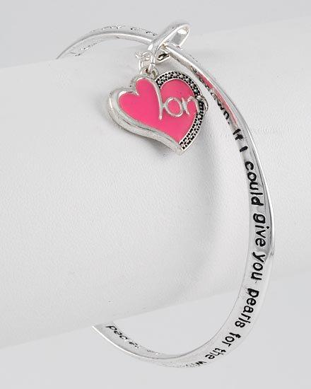 Mothers Prayer Heart Love Pink Charm Bracelet