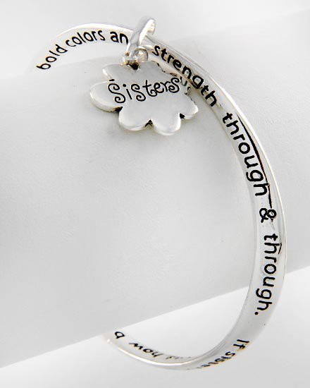 Sisters Prayer Flower Love Charm Bracelet