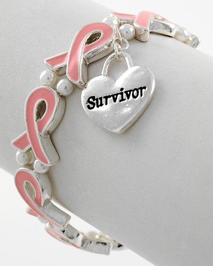 Pink Ribbon Breast Cancer Awareness Survivor Bracelet