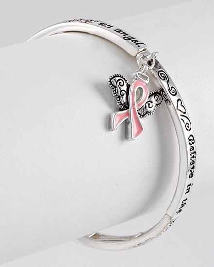Inspirational Believe Pink Ribbon Breast Cancer Charm Bracelet