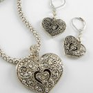 Silver Tone Heart Love Marcasite Style Valentines Day Necklace Set