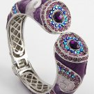 Purple Amethyst Crystal Fold Over Bangle Bracelet