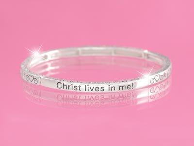 Christ Lives in Me Religious Stackable Bracelet
