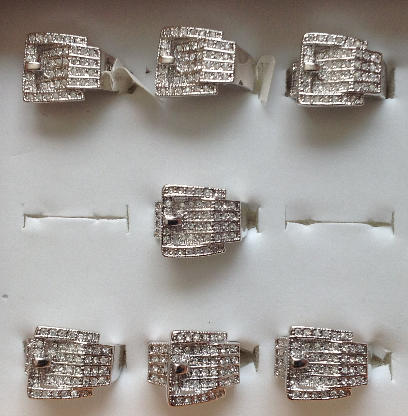 Wholesale Bulk Mixed Lot of 7 Clear Cubic Zirconia Western Belt Buckle Cowgirl Ring Size 6 7 8