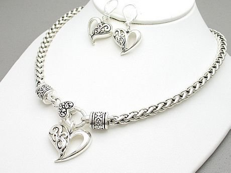 Braided Silver Tone Heart Valentines Day Necklace Set