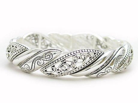 Silver Tone Filigree Bangle Bracelet