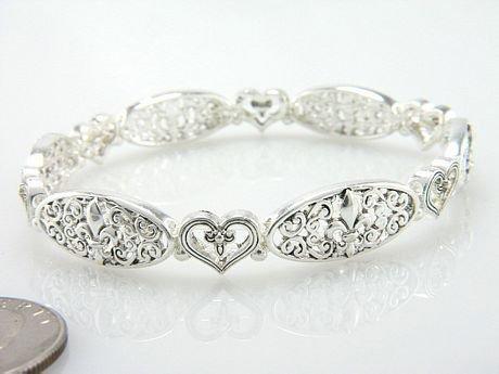 French Fleur De Lis Heart Silver Tone Filigree Bangle Bracelet