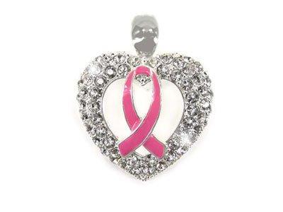 Pink Ribbon Breast Cancer Awareness Crystal Pendant