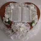 Hand Crafted Wooden Heart with Lace and Bible