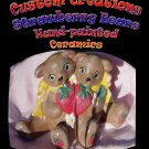 Hand Painted Strawberry Bears -- One of A Kind --