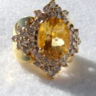 MUST SELL 18K solid yellow gold ring w/4 ct citrine & 44 diamonds  4 3/4