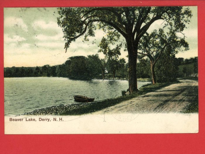 DERRY NEW HAMPSHIRE NH BEAVER LAKE VINTAGE 1907 POSTCARD