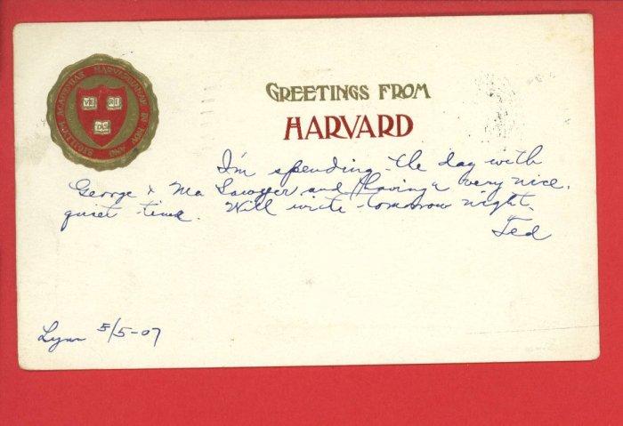 GREETINGS FROM HARVARD CAMBRIDGE MASS 1907 POSTCARD