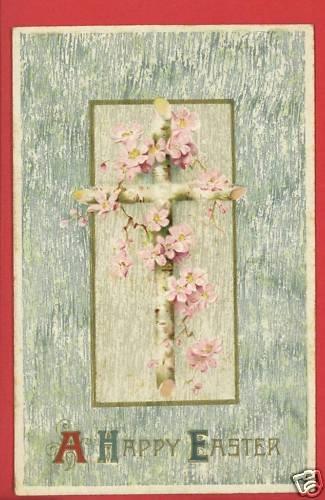 HAPPY EASTER CROSS FLOWERS  POSTCARD