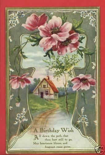 A BIRTHDAY WISH HOUSE PATH ROSES POEM  POSTCARD
