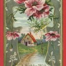 A BIRTHDAY WISH HOUSE PATH ROSES POEM  POSTCARD