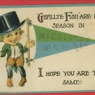 MIDDLETON MI BANNER FLAG PENNANT FISH  1907  POSTCARD