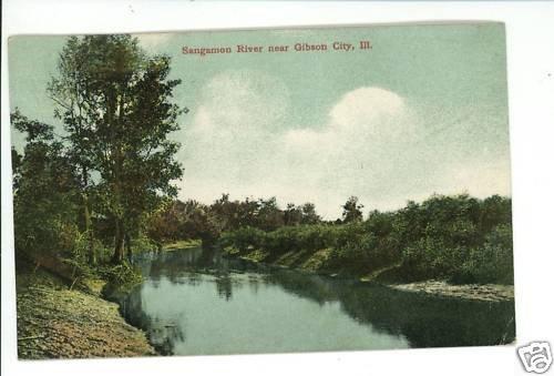 GIBSON CITY IL ILLINOIS SANGAMON RIVER  LOWRY POSTCARD