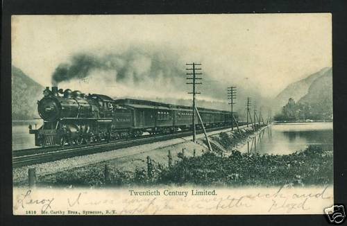 TWENTIETH CENTURY LIMITED TRAIN 1906 RAILROAD  POSTCARD