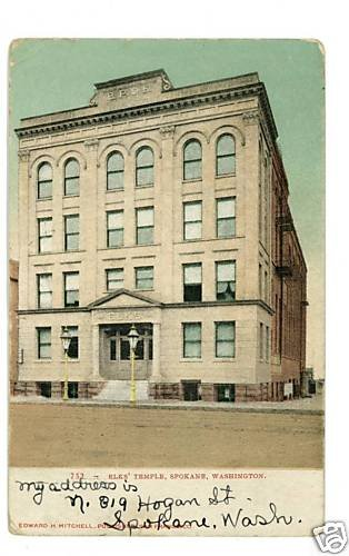 SPOKANE WASHINGTON WA  ELKS' TEMPLE UND BACK   POSTCARD