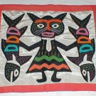 DRESSED CAT WITH  FISH   APPLIQUE FOLK ART PANEL SILK?