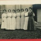 RPPC 7 WOMEN LONG DRESSES OUTSIDE HOUSE RP POSTCARD