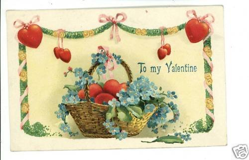 TO MY VALENTINE HEARTS BASKET RIBBONS  POSTCARD