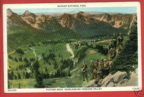 RAINIER NATL PARK WA WASHINGTON PICTURE ROCK  POSTCARD