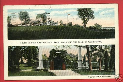 MT VERNON VA VIRGINIA MANSION TOMB PRESIDENT POSTCARD