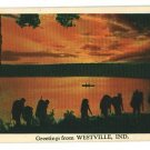 WESTVILLE INDIANA IN GREETINGS FROM 1965 POSTCARD