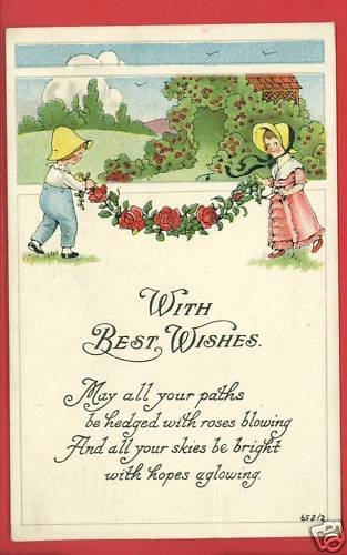 WITH BEST WISHES S BERGMAN 1913 BOY & GIRL  POSTCARD