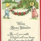 WITH BEST WISHES S BERGMAN 1913 BOY & GIRL  POSTCARD