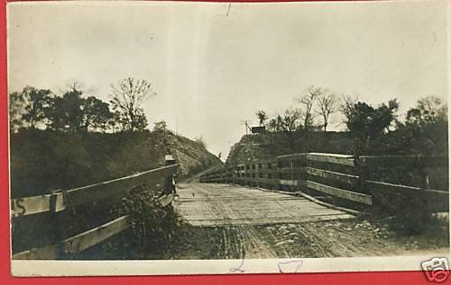RPPC WOOD BRIDGE DIRT ROAD REAL PHOTO POSTCARD