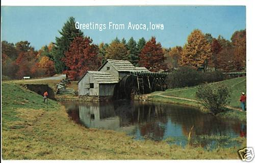 AVOCA IOWA IA GREETINGS FROM GRIST MILL  POSTCARD