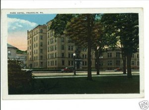 FRANKLIN PENNSYLVANIA PA  PARK HOTEL 1929 POSTCARD