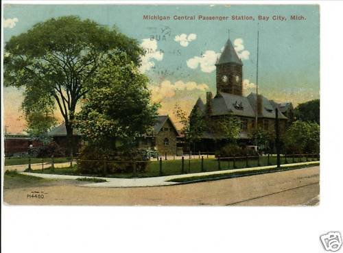 BAY CITY MICHIGAN CENTRAL RAILROAD STATION 1912 POSTCRD