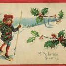YULETIDE CHRISTMAS GIRL SNOW SHOES POLE POSTCARD