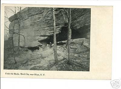OLEAN NEW YORK NY UNDER THE ROCKS -  ROCK CITY POSTCARD