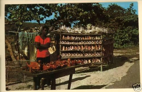 JAMAICA CONCH SHELLS CORAL CARVINGS VENDOR  POSTCARD