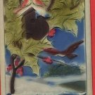 HAPPY NEW YEAR BIRD BIRDHOUSE DEEPLY EMBOSSSED POSTCARD