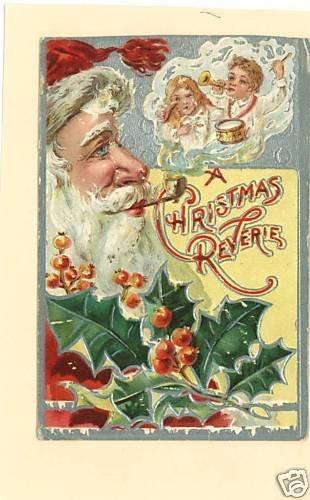 SANTA CHRISTMAS PIPE SMOKE DOLL TOYS  EMBOSSED 1908