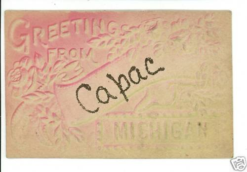 CAPAC  MICHIGAN MI GREETINGS FROM  GLITTER POSTCARD
