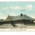 ASHTABULA OHIO S & M S DEPOT POSTCARD 1909