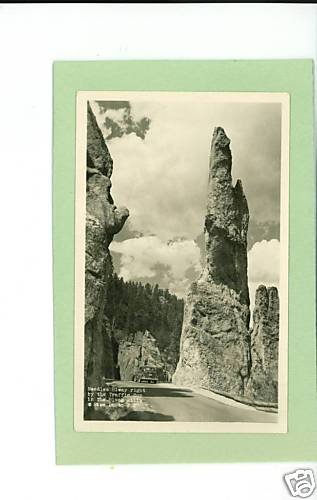 BLACK HILLS SOUTH DAKOTA NEEDLES HIWAY BY COP RPPC CAR