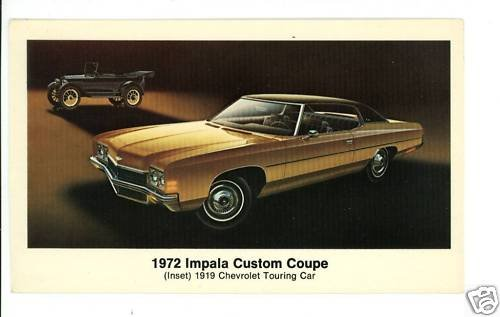 CHEVROLET CHEVY 1972 IMPALA CUSTOM COUPE  POSTCARD