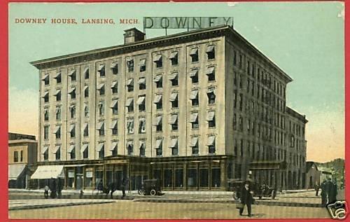 LANSING MICHIGAN DOWNEY HOUSE HOTEL CARS 1911 POSTCARD