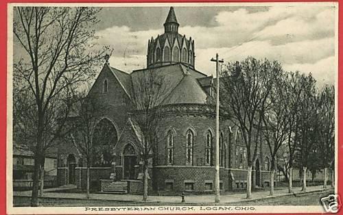 LOGAN OHIO PRESBYTERIAN CHURCH 1908  POSTCARD