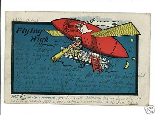 AIRSHIP AIRPLANE  FLYING HIGH  MAN  LADDER TELESCOPE