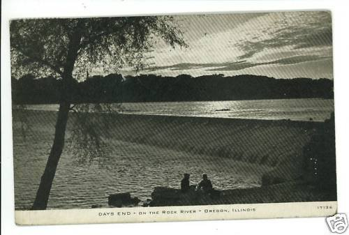 OREGON IL ILLNOIS DAYS END ON THE  ROCK RIVER  POSTCARD