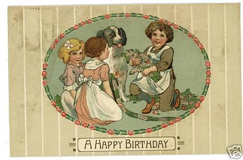 BIRTHDAY DOG GIRLS BOY ROTOGRAPH POSTCARD